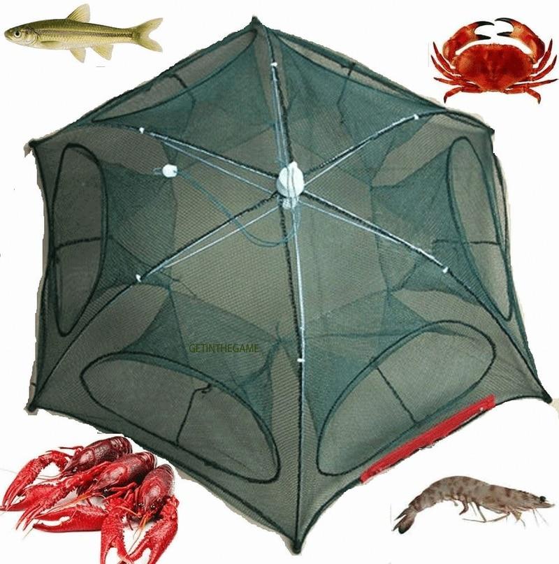 Folded Portable Hexagon 6 Hole Automatic Fishing Shrimp Trap Fishing Net Fish Shrimp Minnow Crab Baits Cast Mesh Trap Drop Ship