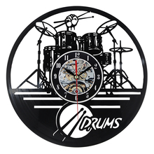 Hot Vinyl Record Wall Clock Guitar Drums Set Art Watch Clock Mechanism Black LED Backlight Home Decorative