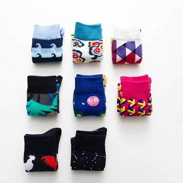 Colorfully Happy Breathable Cotton Socks