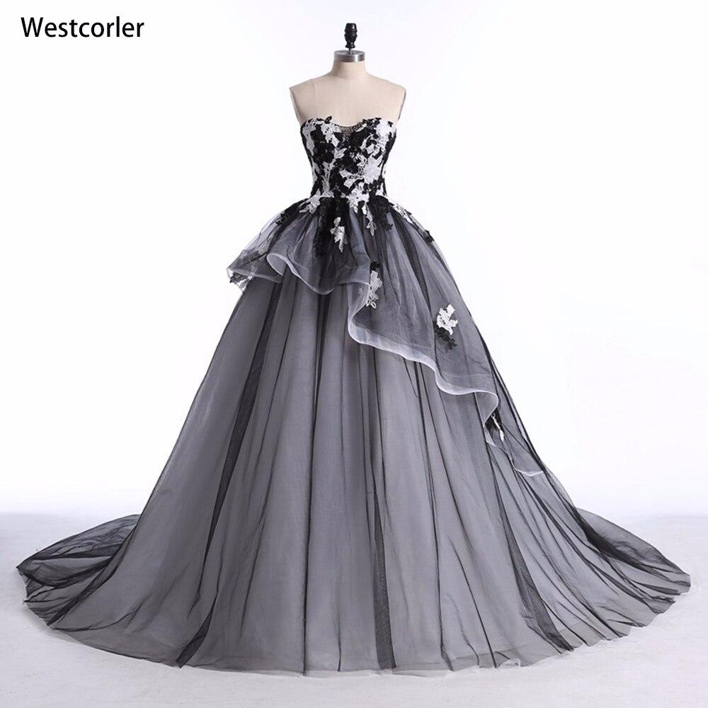 2019 Hot Real Picture White & Black Plesové šaty Svatební šaty s krajkou Appliques Bez ramínek Svatební šaty Vestido de noiva