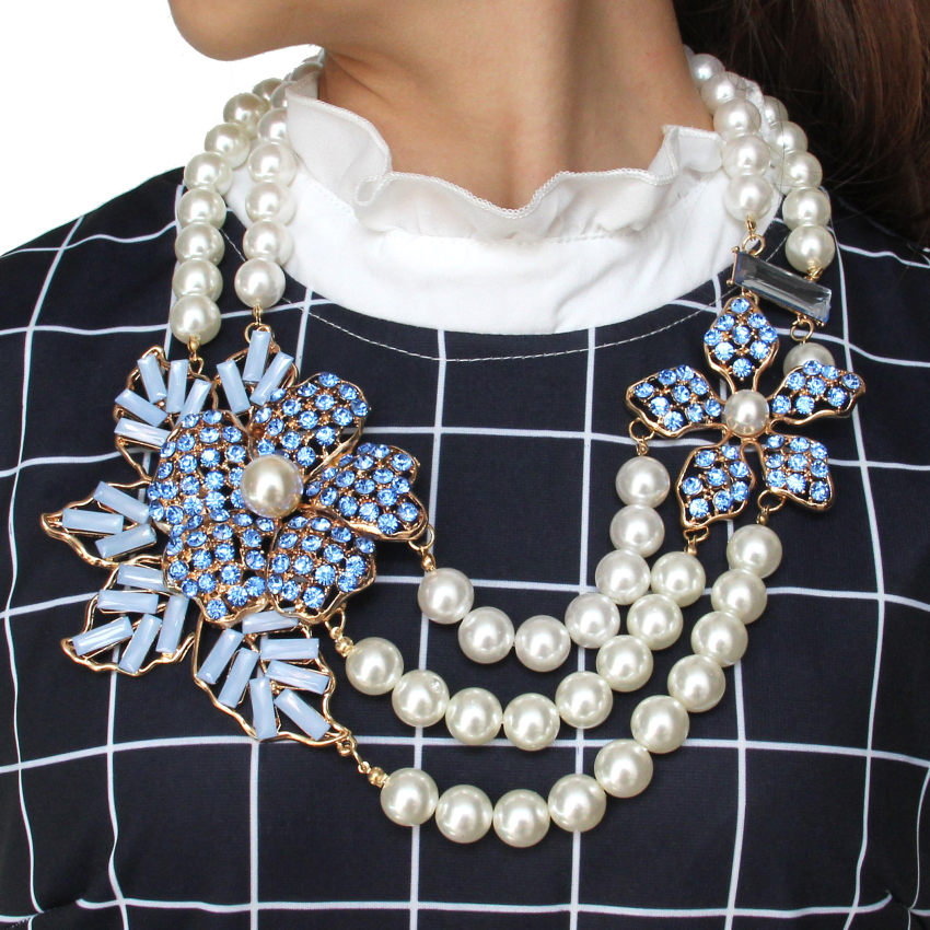 MANILAI Bohemian Multilayers Simulated Pearl Rhinestone Flower Statement Necklaces Women Handmade Collar Choker New Maxi Jewelry manilai trendy arc hollow metal big torque choker necklaces women indian geometric collar statement necklace jewelry wholesale