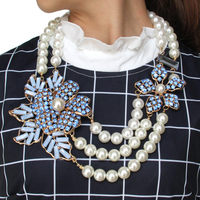 MANILAI Bohemian Multilayers Simulated Pearl Rhinestone Flower Statement Necklaces Women Handmade Collar Choker New Maxi Jewelry
