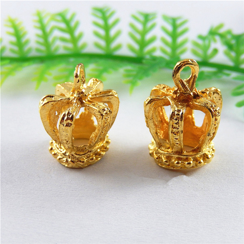 Wholesale 10pcs Imitation Alloy Crown Shape Jewelry Pendants Charms Gold Finding Jewelry Key Chain Accessary
