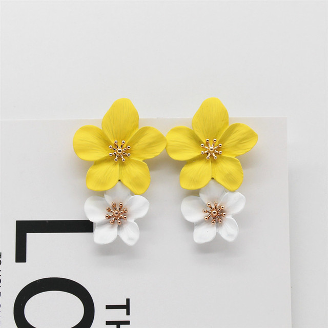 Hot Fashion Jewelry Big Flowers Mixed Color dangle Earrings Beach Resort Party Statement earring for gift.jpg 640x640 - Big Flowers Mixed Color Dangle Earrings Beach Resort Party