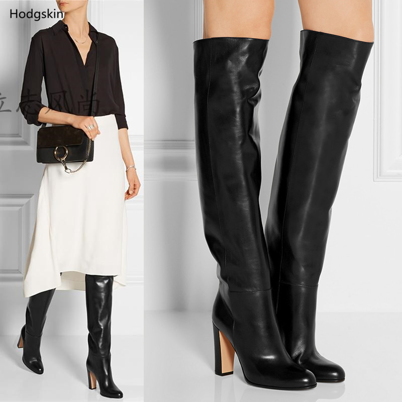 Classic Fashion Fall Winter Thigh High Boots Women Black Soft Genuine Leather Block -9907
