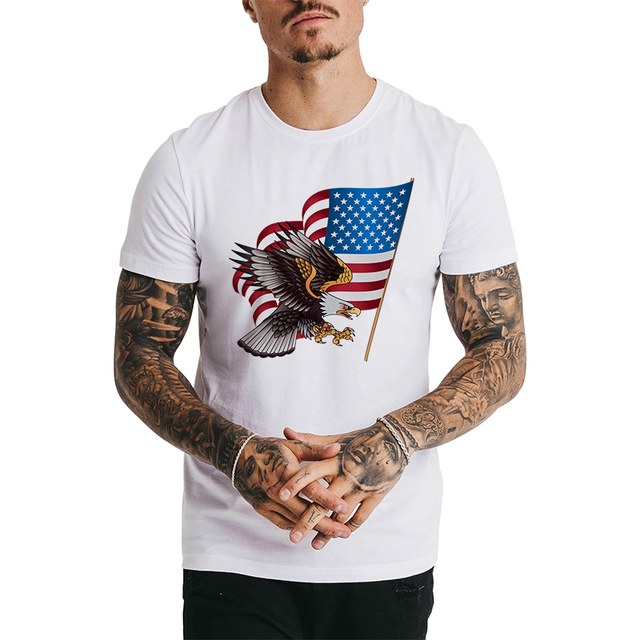 bd2cf9713a8 Funny USA American Flag T-shirts Men White 3D Tshirt Eagle Print Striped  Man Tee Shirts Summer Tops Man Clothing Camiseta Hombre