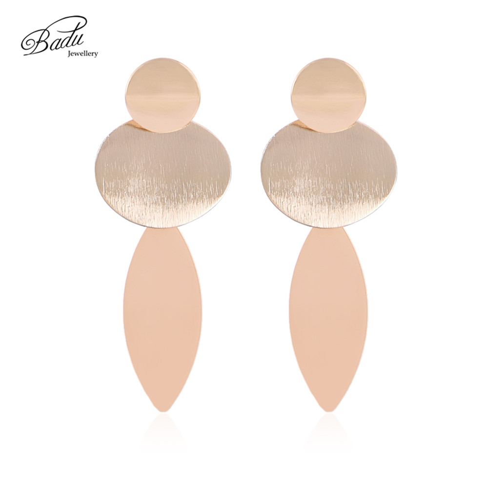 Badu Gold Punk Earring Geometric Big Round Stud Earrings for Women Round Exaggerated Statement Jewelry Wholesale
