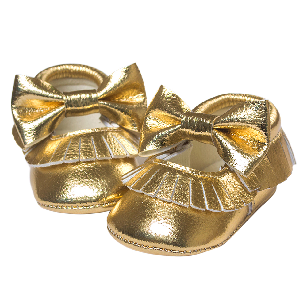 ROMIRUS Baby Moccasins Soft Bottom Butterfly-knot Baby Shoes Tassels Baby Prewalkers Shoes Gold 13cm