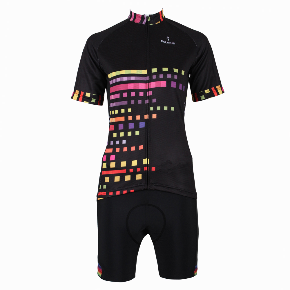 New Women top Sleeve Cycling Jerseys Personas Mosaic Squares bike top 2016 Black Spring Cycling Clothing Size XS-6XL ILPALADIN 2016 new men s cycling jerseys top sleeve blue and white waves bicycle shirt white bike top breathable cycling top ilpaladin