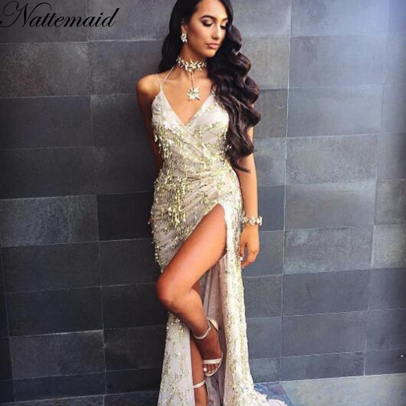 942caa95be41f NATTEMAID 2017 Spring Women vintage dress Apparel Sexy sequin tassel beach  party Club Wear Maxi long dresses Gold sequined Robe