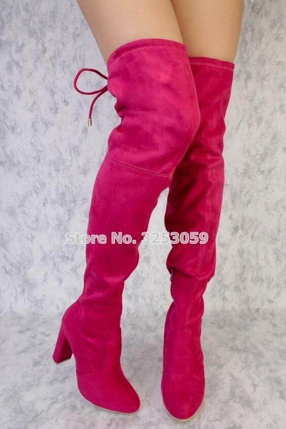 Pink Dropship Suede Muslo As Eu43 De Red Marca Invierno Color Picture as hot Tamaño Tacón Nueva Altas Motocicleta customized Otoño Almudena Llegada Grueso Picture Botas xOqCzvP