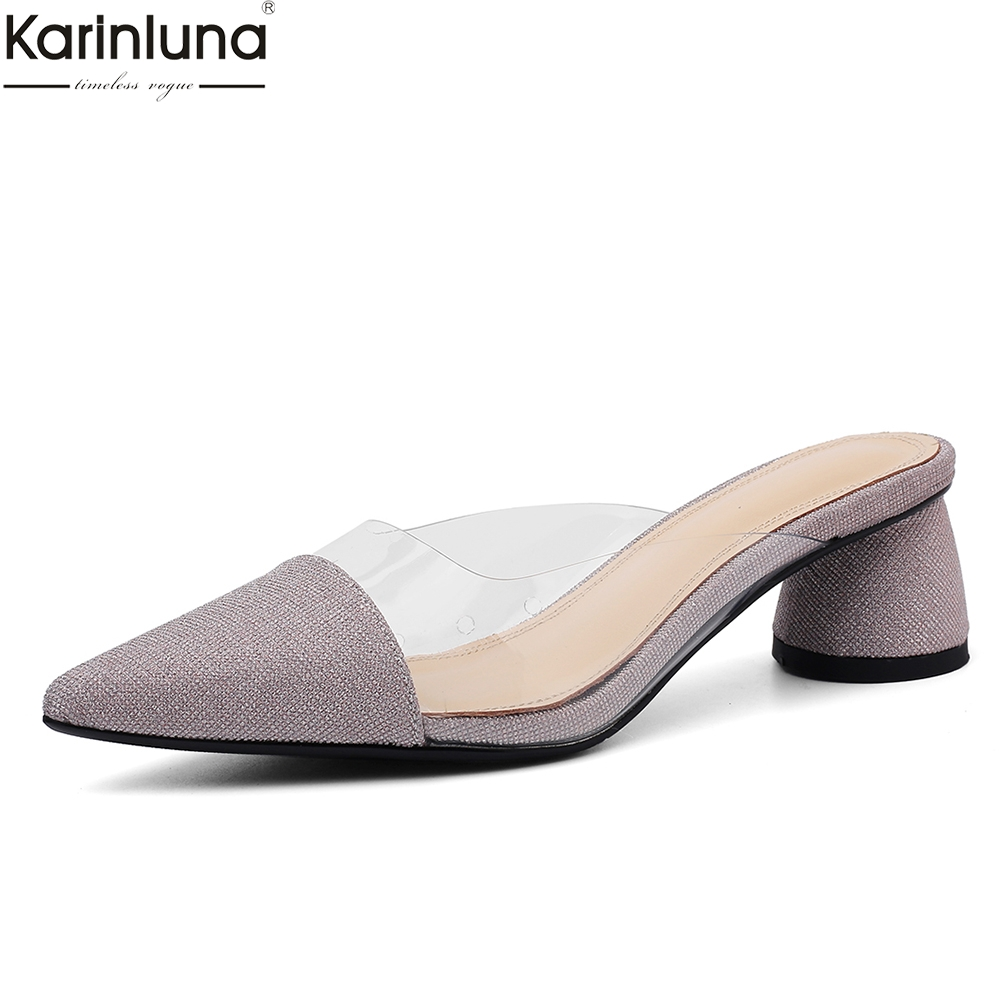summer Mules women shoes woman pointed toe high qaulity chunky heels shoes women pumps femalesummer Mules women shoes woman pointed toe high qaulity chunky heels shoes women pumps female