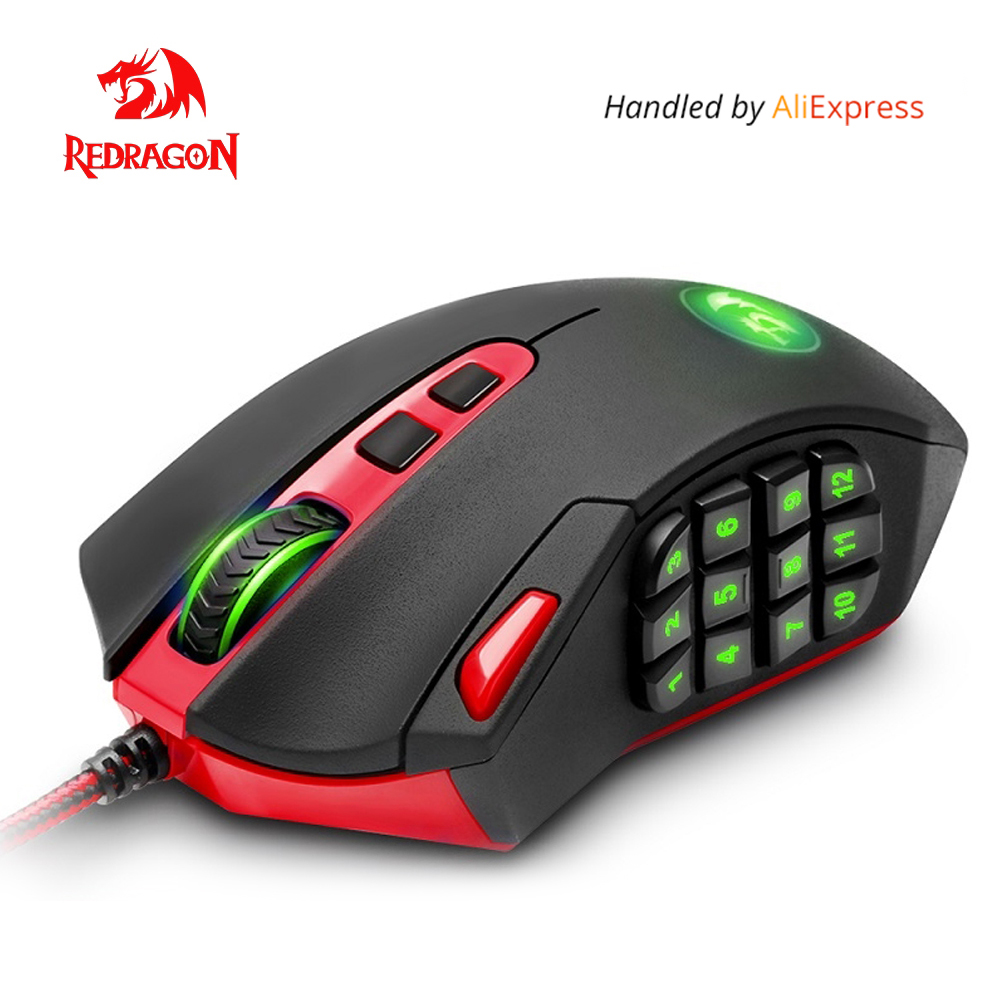Redragon USB wired Gaming Mouse 24000 DPI 19 buttons laser programmable game mice with backlight ergonomic for laptop computerRedragon USB wired Gaming Mouse 24000 DPI 19 buttons laser programmable game mice with backlight ergonomic for laptop computer