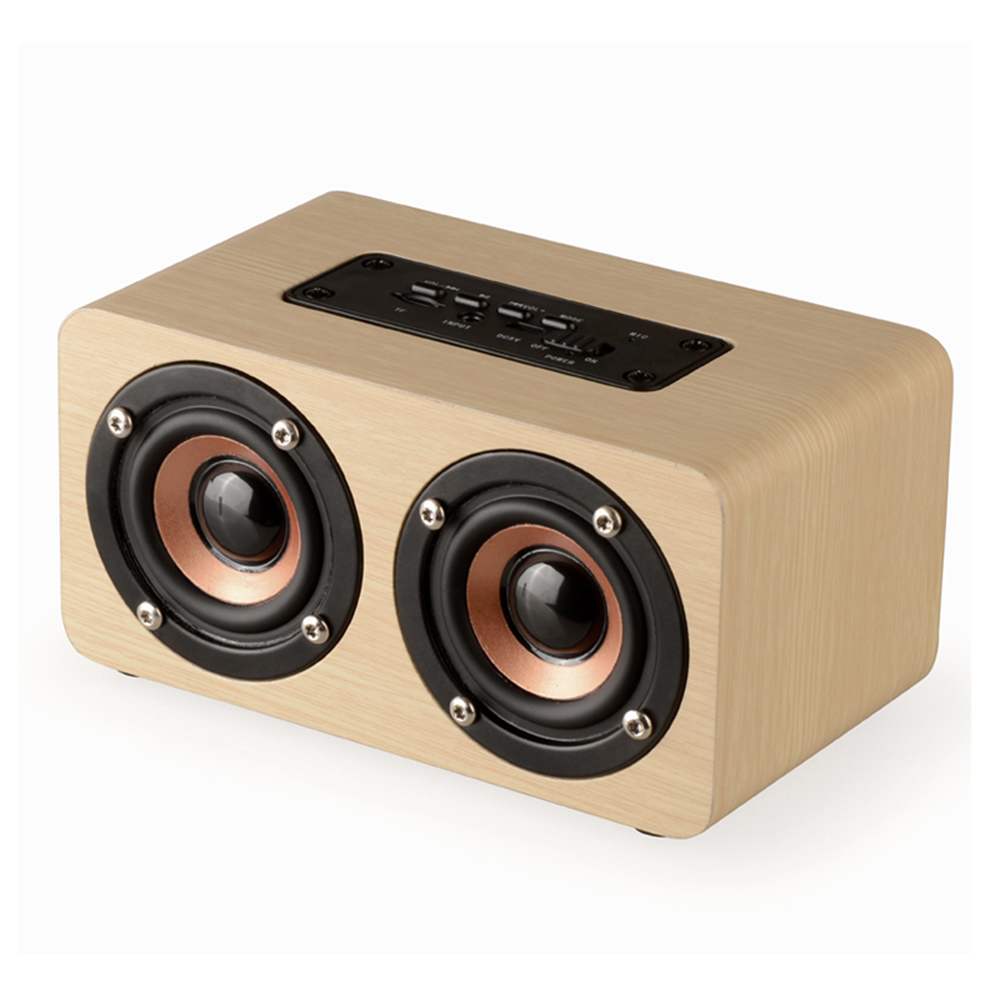 Fashion Dual Horn Wooden Bluetooth Speaker With Bass Music