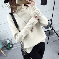 Ordifree 2017 Autumn Winter Women Turtleneck Sweater Knitted Pullover Elegant Ladies Knitwear Warm Jumper Pull Femme