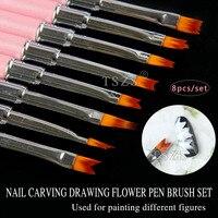 1set Lot Rhinestones Handle Nylon Hair Gradient UV Gel Painting Nail Art Brush 3D Carving Drawing