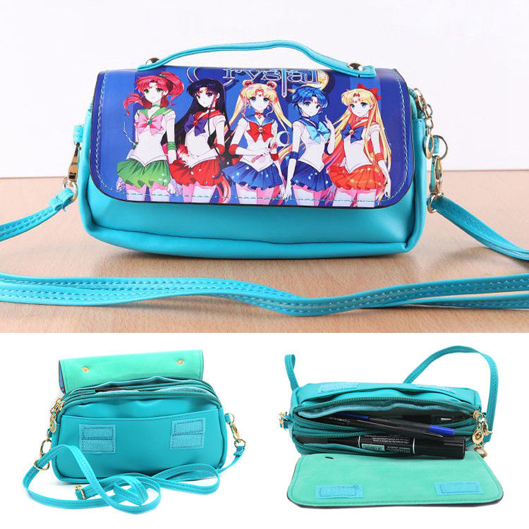 Anime Sailor Moon Women Girls PVC Soft Shoulder Messenger Bag Crossbody Satchel Purse Handbag Wallet Cross Body Collection Gift