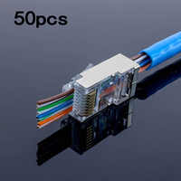 50 Uds. RJ45 conector blindado cat5e Cat6 3U red de agujeros rj45 conectores RJ45 cable ethernet 23AWG cabeza de cristal 8 ranura de línea