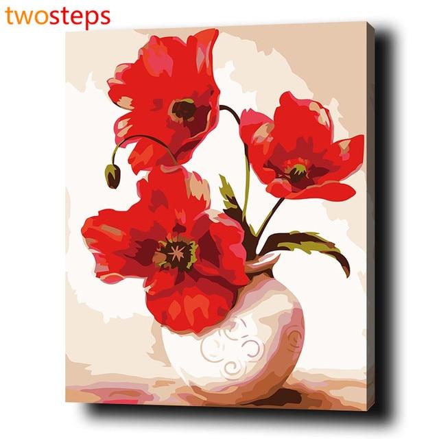 Twosteps Merah Bunga Vas Diy Kanvas Lukisan Minyak Dengan Angka