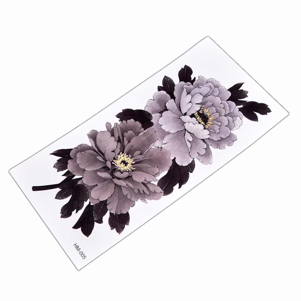 8.5*18cm temporary Waterproof China Peony Flower Temporary Tattoo Sticker Series Grey-White Tattoo Sticker Arm Leg Tatto Sticker