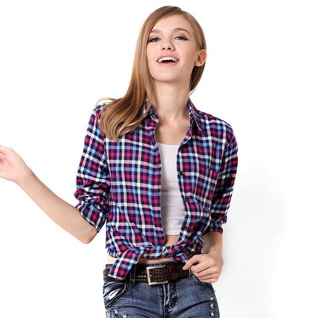 2015 Mulheres Camisa Xadrez de Manga Longa Blusas Femininas Multicolor MMV01 Rua Casual Mulheres Tops Plus Size Roupas femininas