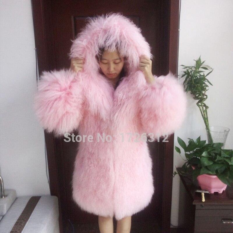 Təbii çimərlik yünü tam dəri uzun dizayn palto monqoliya qoyun - Qadın geyimi - Fotoqrafiya 3