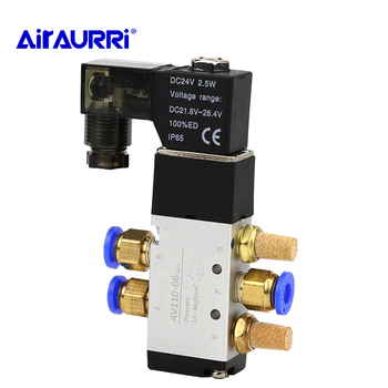 4V110-06 Air Solenoid Valve 5 Way Port 2 Position Gas Pneumatic Electric Magnetic Valve 12V 24V 220V Coil Volt 4mm/6mm/8mm Hose цена 2017