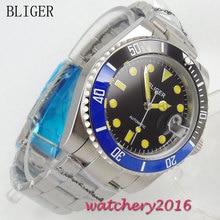 40mm Bliger Sapphire Crystal black dial ceramic Bezel Auto Watch luminous Hands Bracelet Buckle Automatic Mechanical Men's Watch