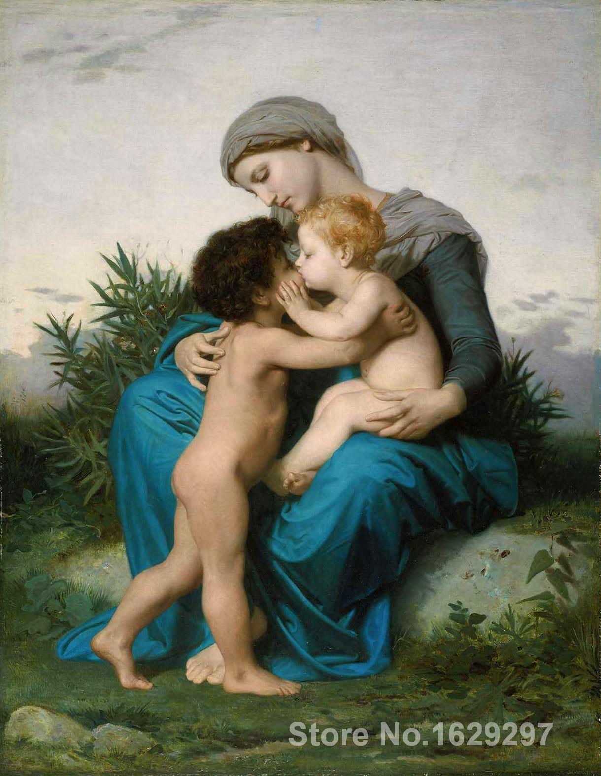 Art oil Painting Fraternal Love by William Adolphe Bouguereau High quality Handmade