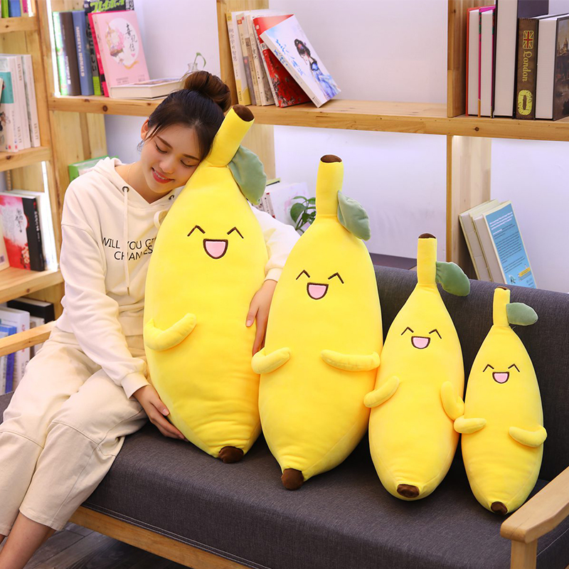 50CM-90cm Giant Soft Cartoon Smile Banana Plush Toys Stuffed Fruit Cushion Pillow Creative Girls Valentine's Gift Plush Toy Doll