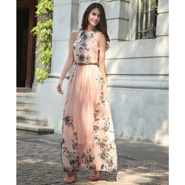 e0decf8486f56 Ruiyige Floral print halter chiffon long dress Women ties up at the back  2018 boho maxi dresses
