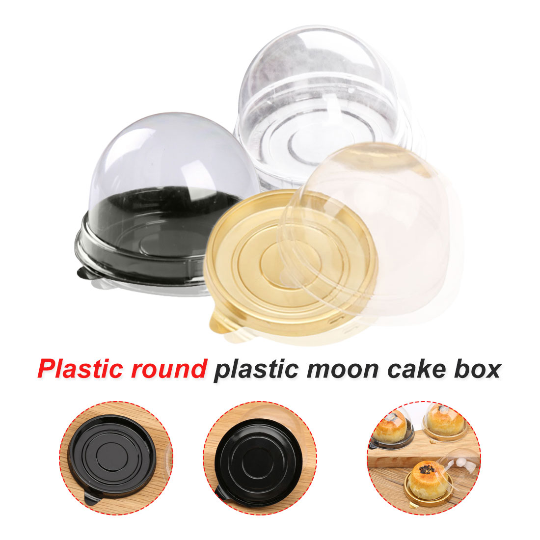 50pcs Plastic Cupcake Packaging Box Cake Dome Containers Wedding Party Favor Boxes Supplies