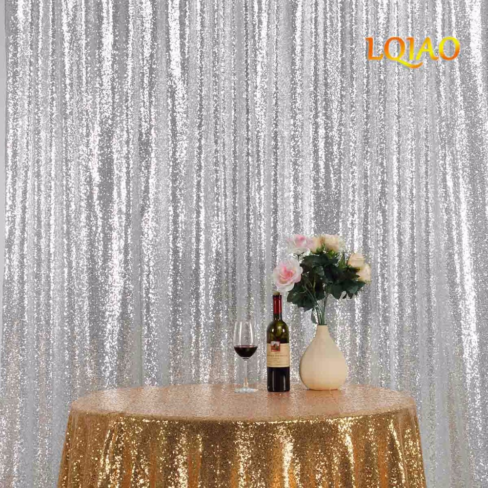 10FT * 10FT argent miroitant Sequin tissu toile de fond Sequin rideaux mariage Photo stand photographie décors pour la décoration de fête