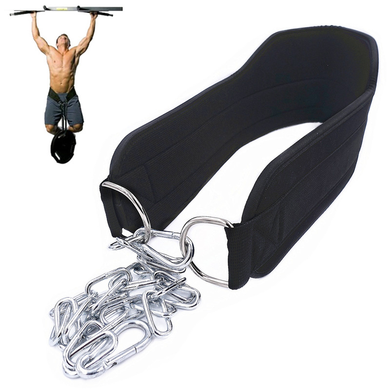 Weight Lifting Dip Belt Neoprene Back Gym Belt With Chain For Fitness Bodybuilding Pull Up Strength Training Load Waist Strap