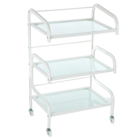 Salon 3 Layer Hairdressing Trolley 4 Omni directional Wheels Glass Barber Hair Colouring Cart Storage Trolley Rolling Cart Shelf