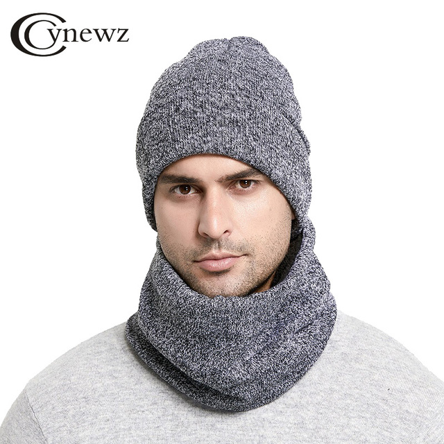 62935858a07 Winter Men Hats Scarf Set Keep Warm Thick Knitted Caps Winter Accessories  Male Beanie Scarf Autumn Thicken Hedging Cap