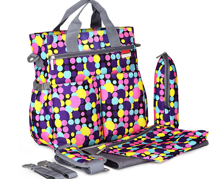 2018 new multicolored dot maternity mother mummy nappy bags multifunctional  stroller bags shoulder handbag baby diaper bag 647fd1632bcd7