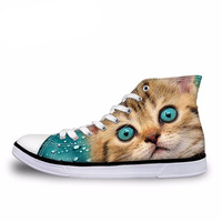 NOISYDESIGNS Men Hand Painted High Top Canvas Shoes Lazy Cat Colored Drawing Vulcanize Shoes Academy Sport Loafers Male Sneakers