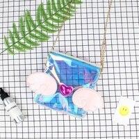 Harajuku Style Japanese Lolita Heart Shape Wing Tail Transparent Itabag Messenger Shoulder Bag Handbag Zipper Chain Kawaii Bags