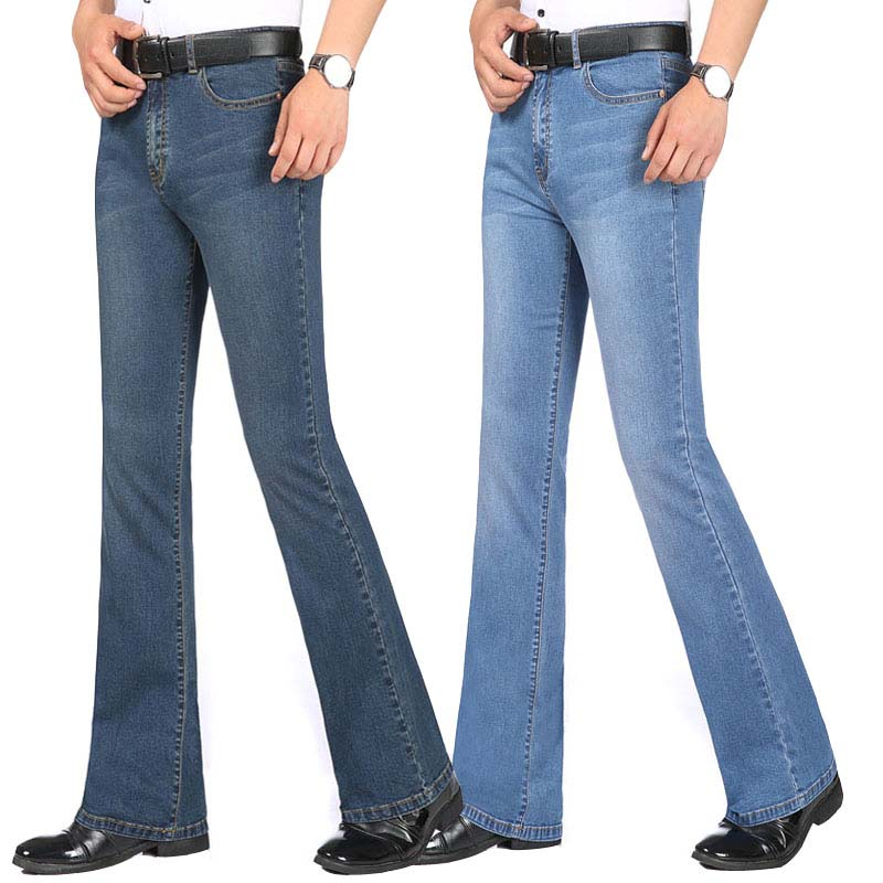 Summer Thin Fabric Jeans In The Waist Elastic Flared Pants Men's Micro-la Pants Slim Men's Casual Jeans More Size 26-38 40