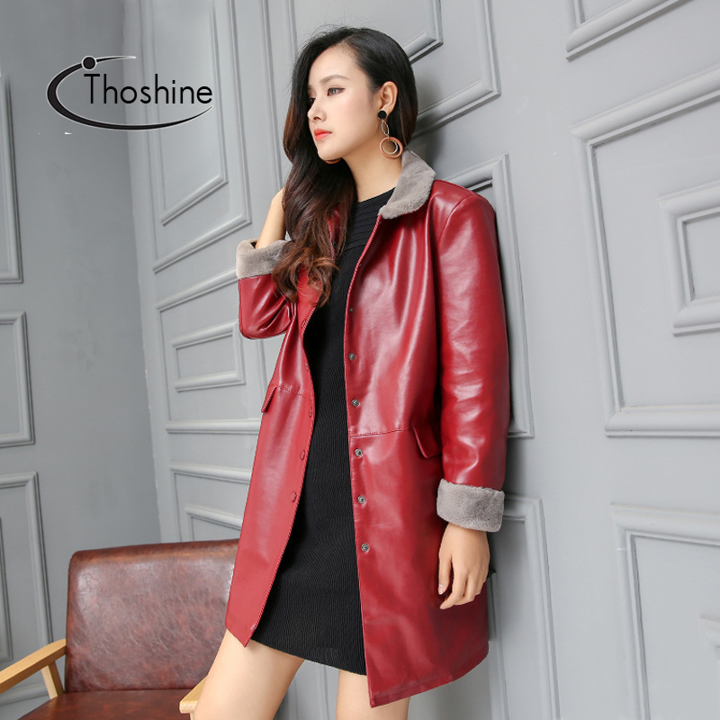 Thoshine Brand Spring Autumn Women   Leather   Long Jackets Turn-Down Fur Collar Slim Fit Female PU Faux   Leather   Outerwear Coats