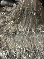 nice looking feather embroidery tulle mesh lace fabric ZH 5623 with sequins for party dress