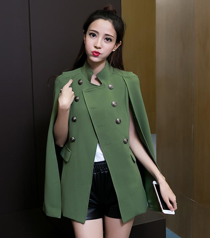 Двубортный Тренч Англия длинный рукав ветровка Женский костюм коготь поддельный комплект из двух предметов - Цвет: Зеленый