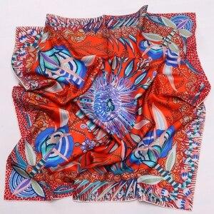 Image 5 - High Style Floral Print Square 100% Silk Twill Scarf Wraps Women Head Scarves Hijab Shawl Foulard 88*88cm