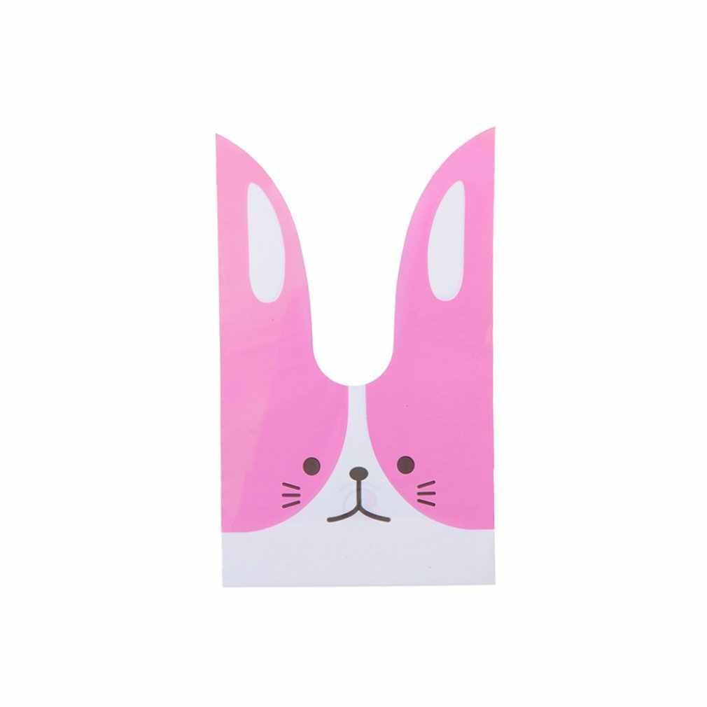 10pcs Kawaii Long Ears Rabbit Dessert Cake Candy Easter Bunny Cookies Gift Bags Decoration Plastic Bag