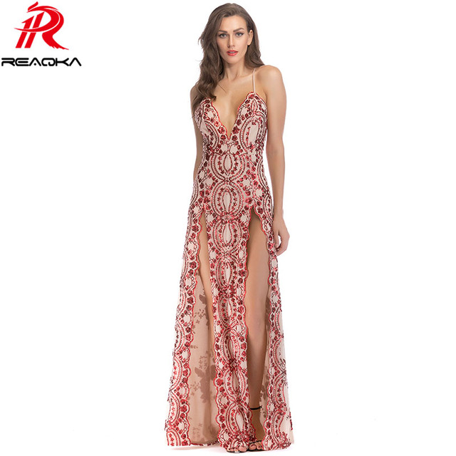 41ac081e7e0 sexy elegant Sequins summer maxi dress women white black Gold Red Strap  bodycon vestido Luxury Nightclub party long dresses 2018