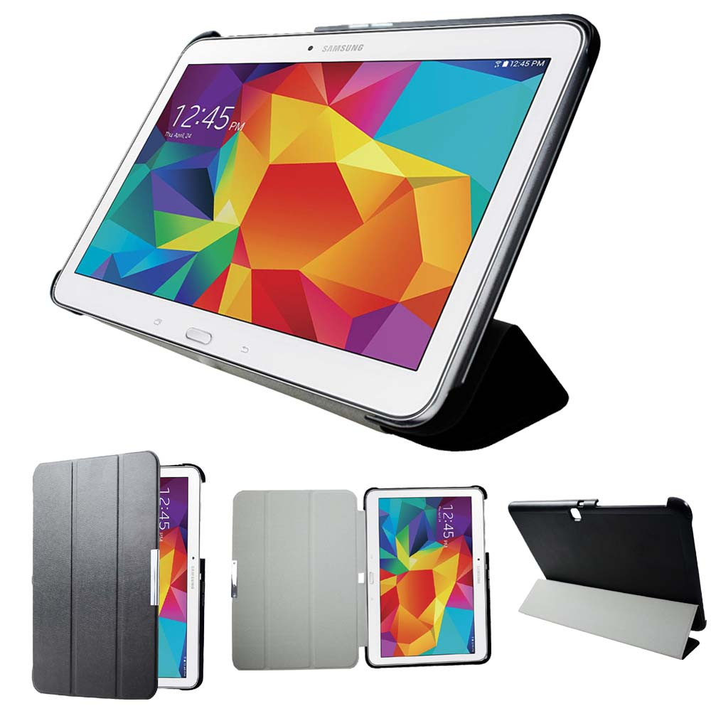sm-t530 t535 t531 tablet stand cover case for Samsung Tab <font><b>4</b></font> <font><b>10.1</b></font> Ultrathin slim leather smart cover case magnetic auto sleep image