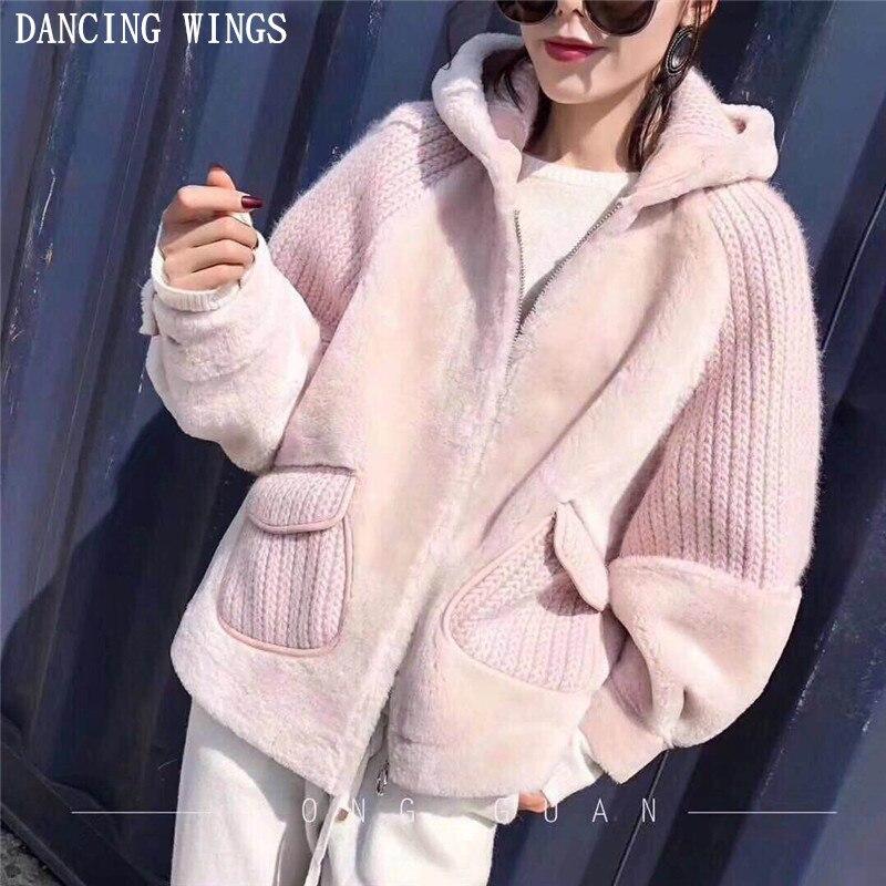 2018 новый стиль настоящий натуральный мех кролика рекс пальто вязание с длинным рукавом Двусторонний мех Свободная куртка натуральный мех пальто с капюшоном для женщин