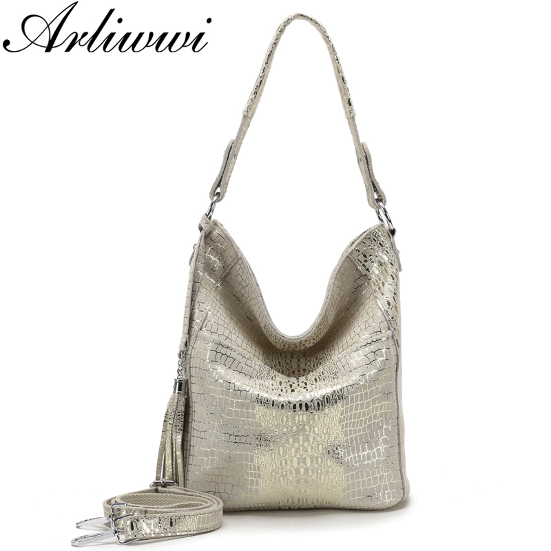 Arliwwi New Fashion Soft Real Suede Cow Leather Shoulder Bags Women Elegant Genuine Leather Shiny Crocodile