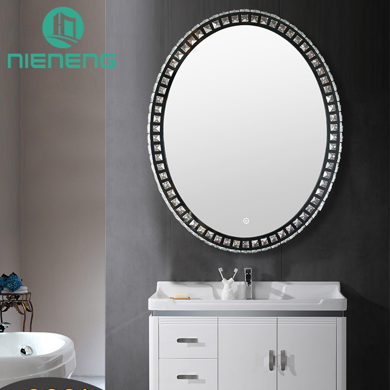 Nieneng LED Bathroom Oval Mirror 30 Inch Demist Lighted Vanity Make up Heated Mirror Dimmer & Defogger Silver Backed ICD90109BWZ